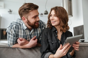 Couple with tablet