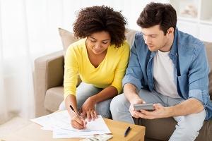 Couple making budget