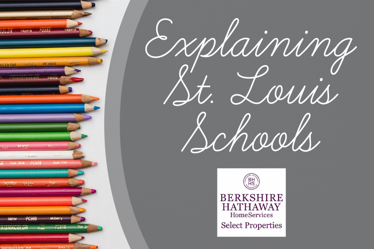 """Explaining St. Louis Schools"""" overlaid on a background of colored pencils"""