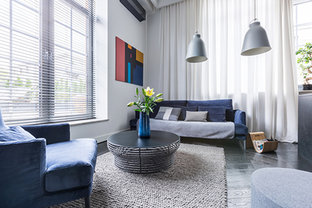 Clutter-free living room that has been staged to sell