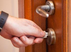 key turning in lock