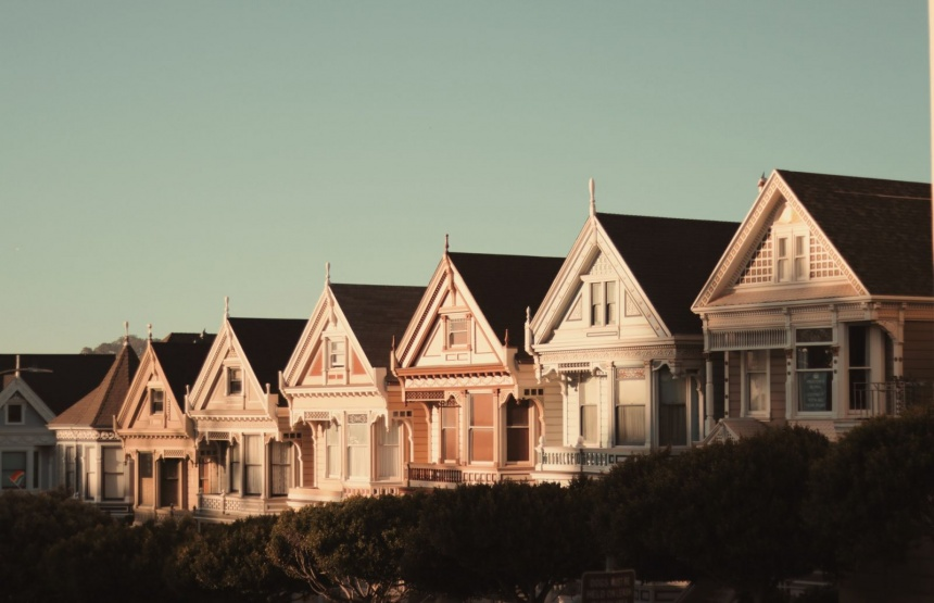 row of houses up a hill