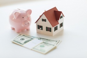 piggy bank with money and house