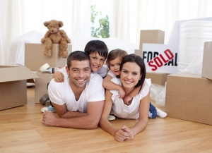 family after moving into home